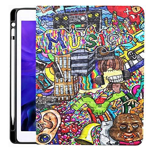 Music Collage On A Large Brick Wall Graffiti For Ipad Pro 12.9 Inch 2020 Release Cover For Ipad With Pencil Holder Ipad 12.9 Case Tpu Without Folding Cover Ipad Pro Cases Applicable Model A229/a2233/