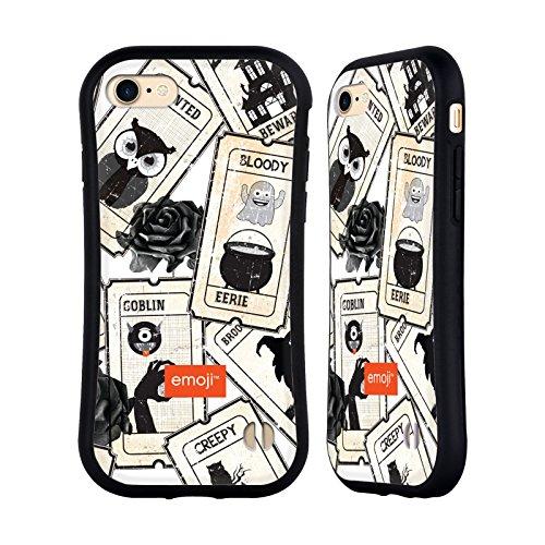Head Case Designs Oficial Emoji® Rosa Negra Patrones de Halloween Carcasa híbrida Compatible con Apple iPhone 7 / iPhone 8 / iPhone SE 2020