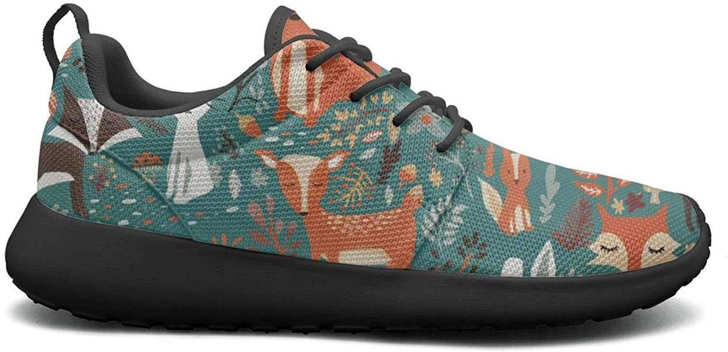 Gjsonmv Forest Animals Fox Deer Rabbit mesh Lightweight shoes for Women Casual Sports Badminton Sneakers shoes