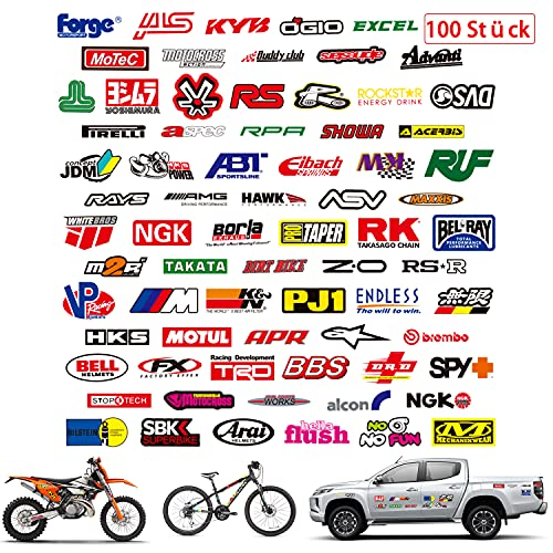 Pegatinas Moto 100pcs Pegatinas Coche,Stickers Impermeables de Vinilo,Pack de Sticker para Motocross Bicicleta Maletas Viaje Skate Snowboard,Regalo de Calcomanías Decorativas Asthetic