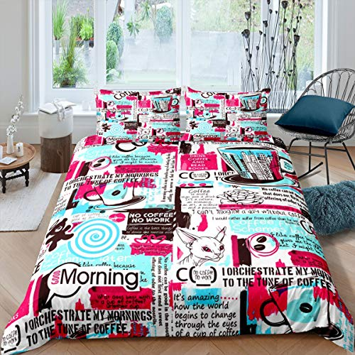 Feelyou Graffiti Duvet Cover Set Newspaper Magazine Cover Bedding Set for Kids Boys Girls Coffee Modern City Comforter Cover Hip Hop Hipster Quilt Cover Bedroom Collection 3Pcs Full Size