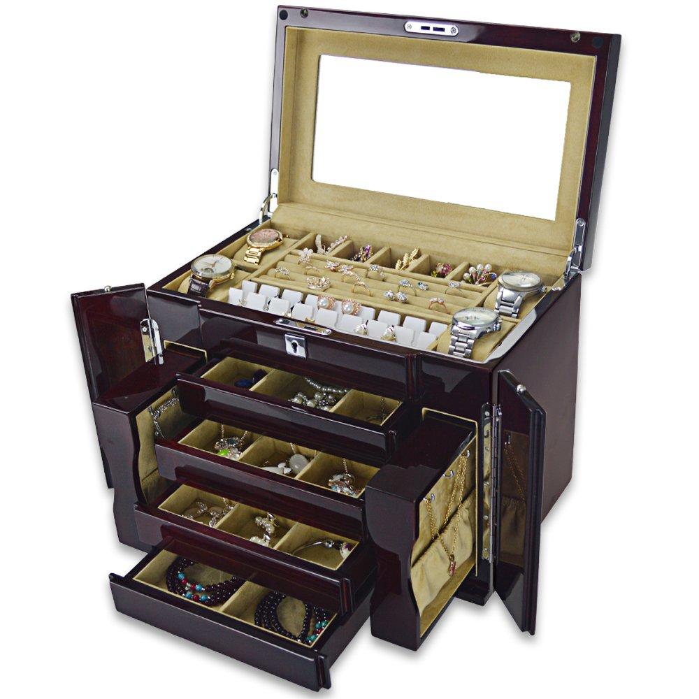 RUINIOルネヨーロッパ高品質の純木ジュエリーボックス多層ロック木製ピアノ塗装ジュエリー収納ボックス