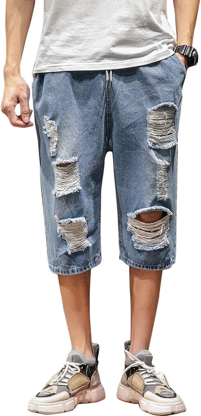 Alilyol Cropped Capri Jeans for Men,Streetwear Ripped Loose Straight Long Denim Shorts Below Knee Fashion Summer