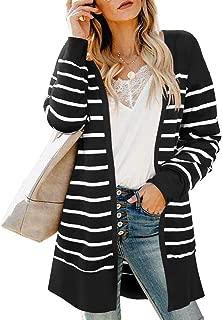Women's Striped Long Sleeve Open Front Lightweight Knit Cardigan Sweater