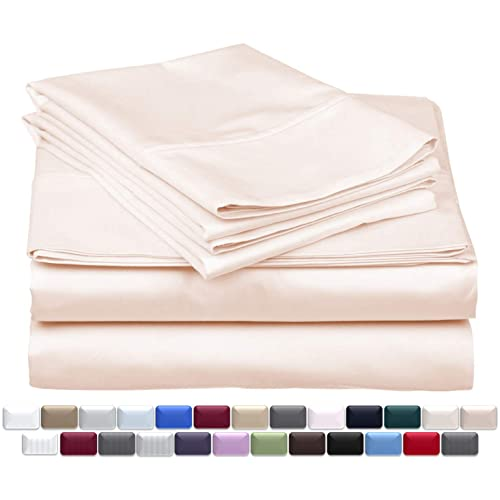 True Luxury 1000-Thread-Count 100% Egyptian Cotton Bed Sheets, 4-Pc King Cream Sheet Set, Single Ply Long-Staple Yarns, Sateen Weave, Fits Mattress Upto 18'' Deep Pocket