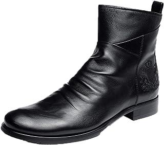 OROSUA Chelsea Boots pour Hommes Respirant Classique Bottes en Cuir décontracté Fermeture éclair Broderie Badge Gland Ant...