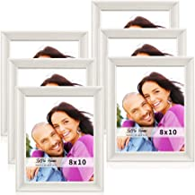 LaVie Home 8x10 Picture Frames(6 Pack,White) Wood Texture Photo Frame Set with High Definition Glass for Wall Mount & Table Top Display, Set of 6 Alice Collection