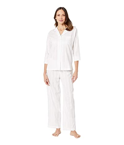 LAUREN Ralph Lauren 3/4 Sleeve Notch Collar Ankle Pants Pajama Set (White) Women