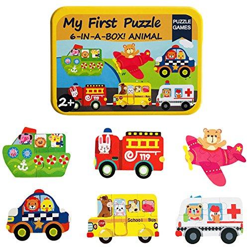 Vehículos rompecabezas madera - rompecabezas juguetes