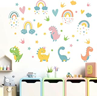 Colorful Rainbow Wall Decals, Watercolor Dinosaur Wall Stickers, Attractive Rainbow Heart Crown Cloud Star Wall Stickers, ...