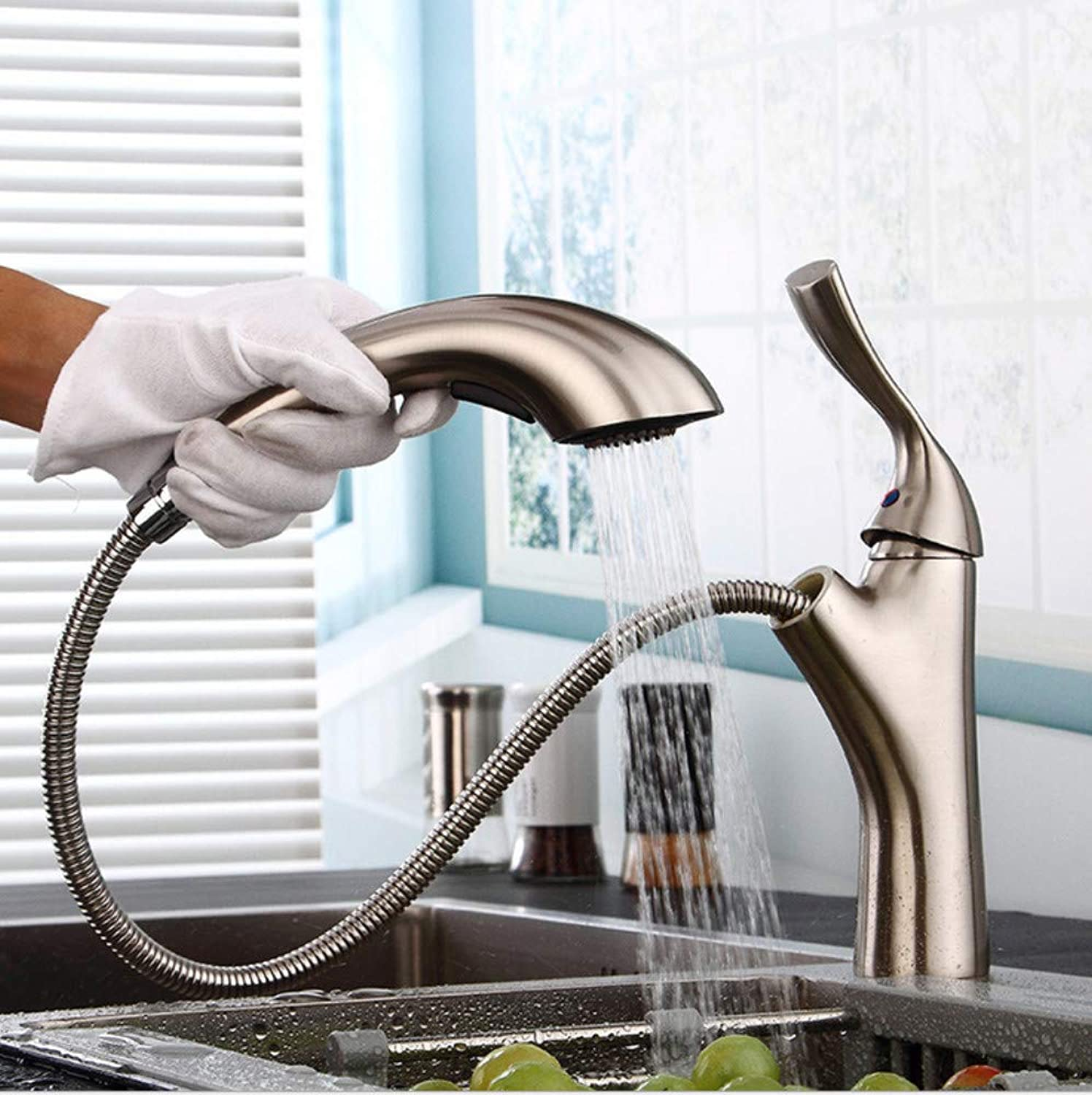 redOOY Copper classic kitchen and bathroom hardware faucet single-lift lifting mixer