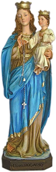 St Mary Our Lady Of The Rosary Statue In Gorgeously Had Painted Alabaster 11