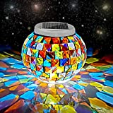 Color Changing Solar Powered Glass Ball Garden Lights, Aukora Solar Table Lights Waterproof Solar Led Night Light for Garden, Patio, Party, Yard, Outdoor/Indoor Decorations, Ideal Gift(Mosaic Glass)