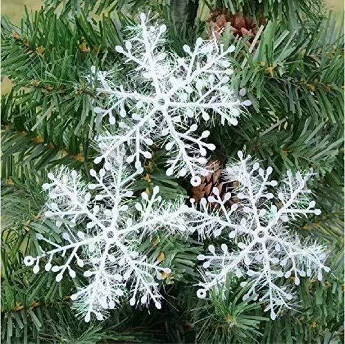 10 Paquetes Con 30 Piezas De Copos Nieves Para Árbol De Navidad Colgantes Adornos 11cm Blanco 🔥
