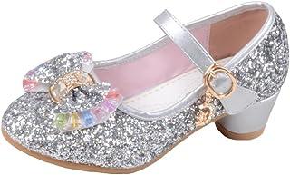 4d936f8fca678 Yy.f YYF Fille Chaussures Ballerine a Talon Paillettes Brillants Respirable  Comfortable