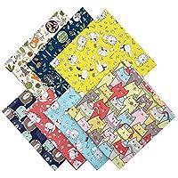 Lurrose はぎれセット 生地 綿 カットクロス 可愛い 動物の柄 子供用 布地 パッチワーク布 DIY 手芸 裁縫用品 7枚セット(50x50cm)