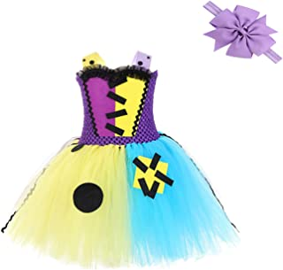 Girl Sally Halloween Costume Dress - Handmade Party Cosplay Birthday Tutu Dress Up Outfit for Kid Toddler Child