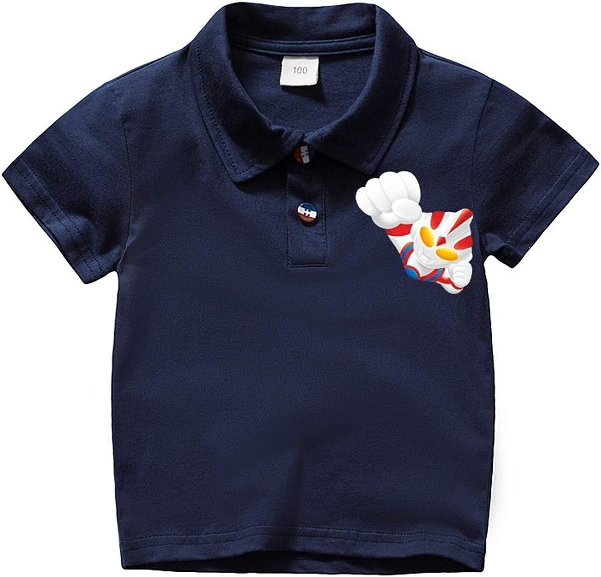 GD-SportBX Boys Girls Ultraman Summer Casual Tees Tops Toddler Short-Sleeve Polo Shirt