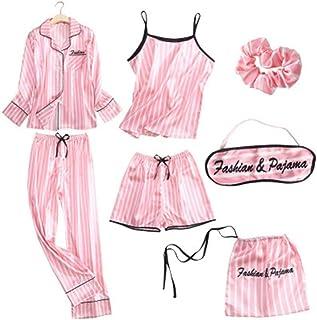 بيجامة مخططة وردية من الحرير والساتان بيجامات مجموعة 7 قطع غرزات ملابس داخلية روب منامة نسائية ملابس نوم