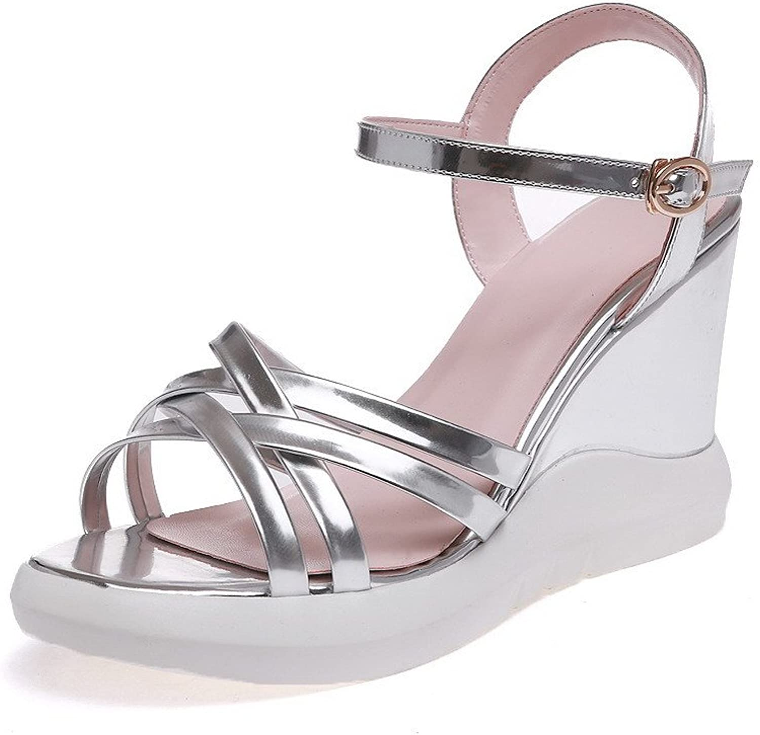 AmoonyFashion Women's Solid Patent Leather High Heels Open Toe Buckle Sandals