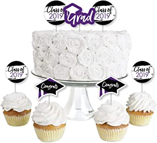 Purple Grad - Best is Yet to Come - Dessert Cupcake Toppers - Purple 2019 Graduation Party Clear Treat Picks - Set of 24