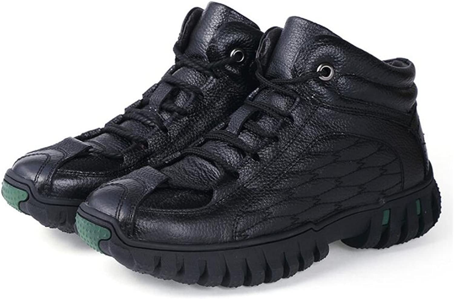 Men's Leather Spring Fall Mountaineer shoes Rubber Non-Slip High-Top Sneakers Tread Anti-Slip,Wearproof Leather Leather Hiking Climbing Athletic shoes (color   A, Size   38)