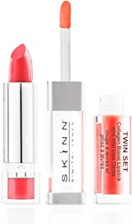 skinn cosmetics twin set collagen boost lipstick & wet lips gloss - shade: coral crush