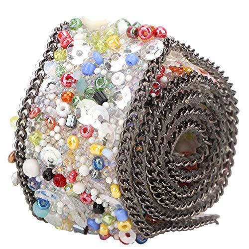 Wosune Cinta, Cadena de Cristal Cinta de Adorno Cinta de(Color Rice Beads Black Chain)