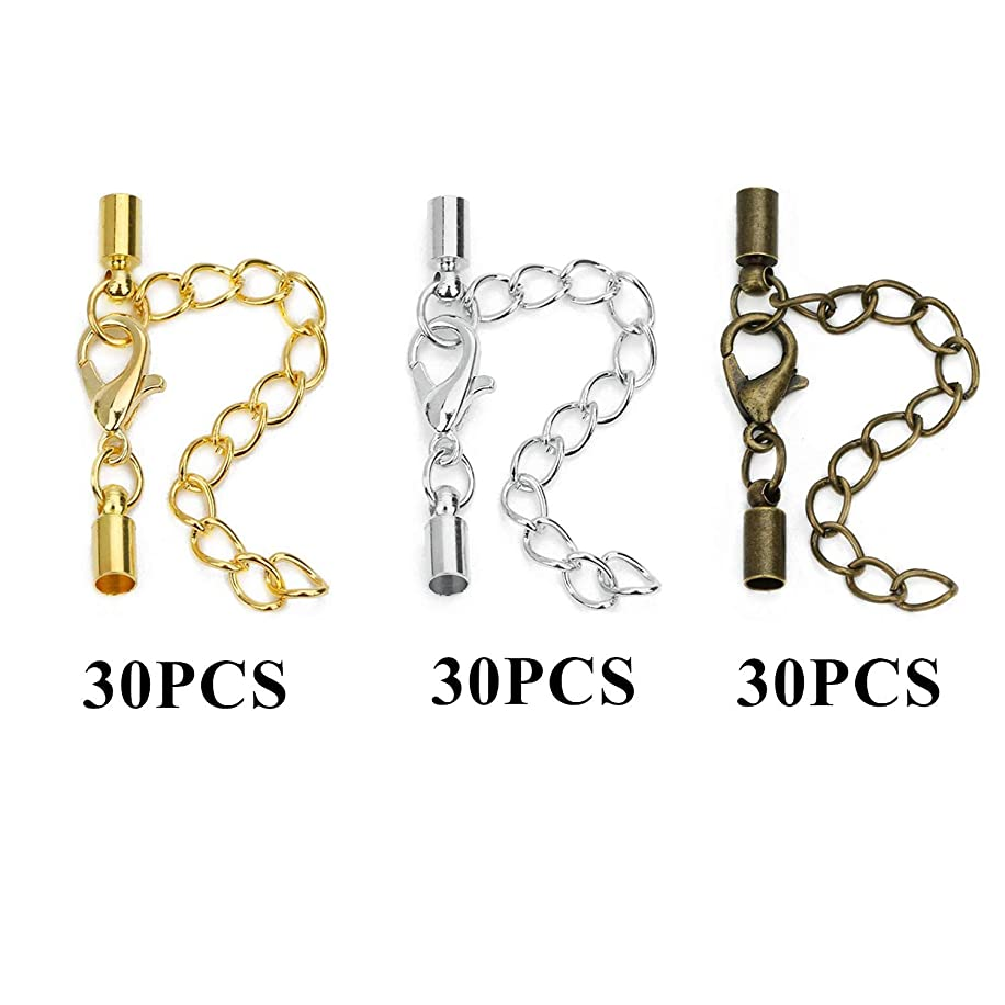 PHAETON 90PCS Leather Cord End Clasps Connectors with Lobster Clasp end caps Extender Chain for DIY Jewelry Making Necklaces Bracelets Fit 3mm Cord (Gold,Silver,Antique Bronze)