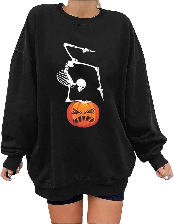 UOCUFY Halloween Sweatshirts for Women, Womens Loose Long Sleeve Skeleton Pumpkin Print Oversized Tops Pullover Shirts