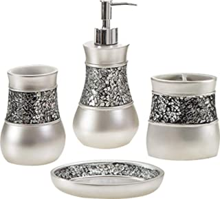 Toucan Treasures 4 Piece Luxury Bathroom Accessories Set, Silver Color, Gift Set, Soap Dish, Lotion Dispenser, Tumbler, Toothbrush Holder, Glass Mosaic