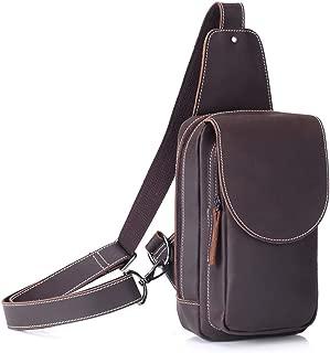 Super Bally Men's Retro Leather Chest Bag Sports Messenger Bag Soft Leather Bag