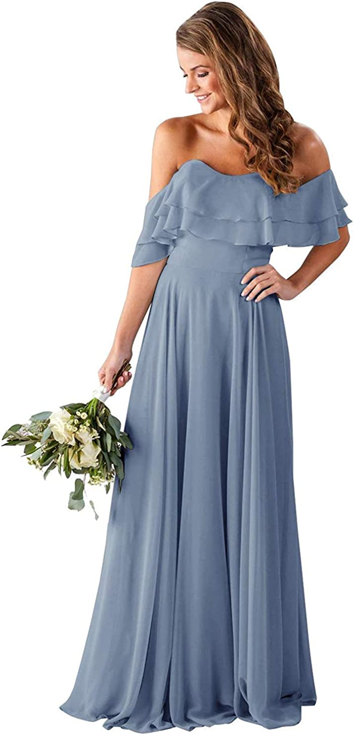 Clothfun Off Shoulder Bridesmaid Dresses Chiffon Long 2021 Formal Dresses for Women Party with Pockets