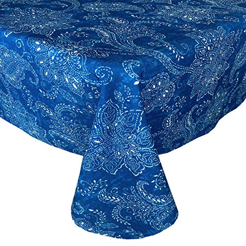 Newbridge Joelle Navy Batik Shabby Chic Indoor/Outdoor Fabric Tablecloth - Indigo Batik Floral Print Water, Stain, Mildew and Fade Resistant Fabric Tablecloth, 70 Inch Round