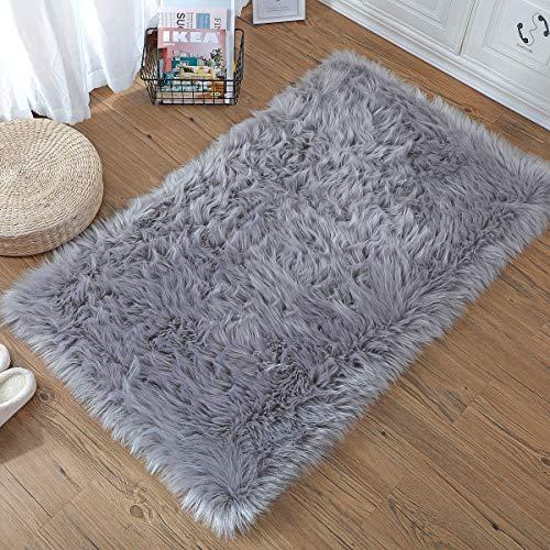 ZCZUOX Faux Schaffell Teppich, Faux Lammfell-Teppich Lang Kunstfell Schaffell Imitat Faux Bett-Vorleger Oder Matte für Stuhl Sofa for Wohnzimmer Schlafzimmer (Grau, 75x120cm)