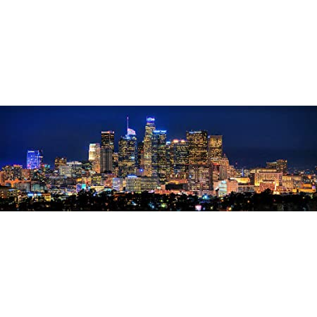 Los Angeles Skyline 2019 Photo Print Unframed Night Color La Skyline 11 75 Inches X 36 Inches Photographic Panorama Poster Picture Standard Size Panoramic Poster Posters Prints