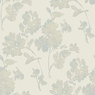 York Wallcoverings Y6150101 Glam Floral Spot Wallpaper, Beige, Metallic Silvery Blue/Grey, Light Taupe