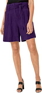 Cotton Kingdom Antimicrobial Soft Cotton Womens Trouser Cut Bermuda Shorts (Purple, Size XS-10XL, F08A055)