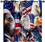 FGYSFT Cortinas Habitacion Niño 3D Bandera Americana Bandera Águila Estatua De La Libertad 92X214 Cm X 2 Patrón Cortinas Opacas Termicas Aislantes Frío Y Calor Intimidad para Hogar 2 Piezas Reduccion