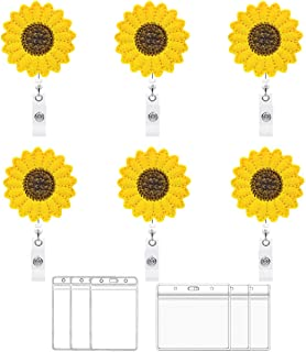 """Nurse Retractable Badge Holder Reel, Yoklili Pack of 6 Sunflower Nursing Badge Holder w/Alligator Clip & 24"""" Retractable Cord, Clear ID Card Holders Included, Perfect Nurse Doctor Gifts for Women"""