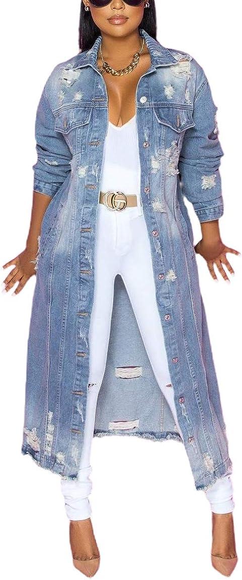 chouyatou Women's Spring Fashion Ripped Holes Maxi Long Denim Jacket Trench Coat