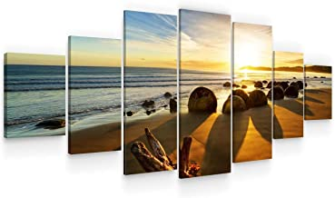 Startonight Huge Canvas Wall Art Beautiful Sunrise at The Beach - USA Large Home Decor - Dual View Surprise Artwork Modern...