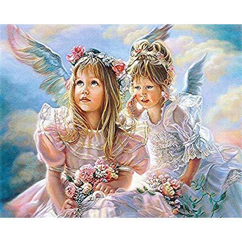 5D DIY diamant schilderij wekker huisdecoratie diamant kruissteek vol meisje wekker engel 30*40cm