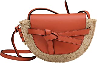 Cross Body Handbags Summer small bag new woven handbags shoulder straw bag Messenger bag Saddle bag (Color : Orange)