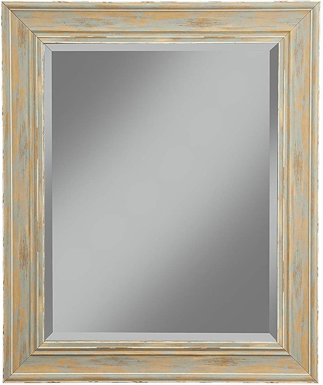 Benzara BM178094 Polystyrene Framed Wall Mirror with Sharp Edges, Turquoise