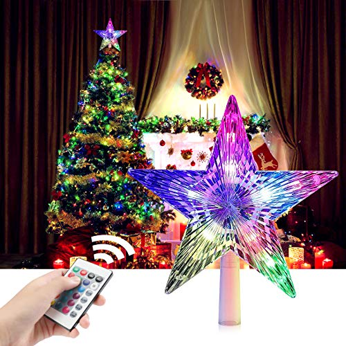 CrazyFire LED Star Christmas Tree Topper 9.5 Inch 24 Colours Flash Star Light with Remote Control Christmas Star Lights for Xmas Party Tradition Tree Ornament Holiday Indoors Outdoors Decoration