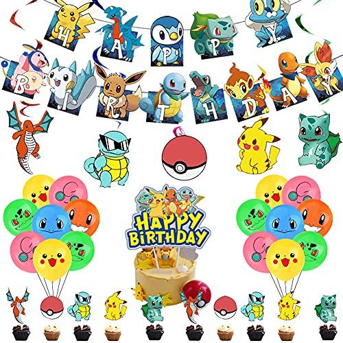 Decoración de fiesta de Pokemon, para fiestas de cumpleaños de niños y niñas Decoración, Globos de Pokemon, 57 piezas de globos de Pokemon Pikachu