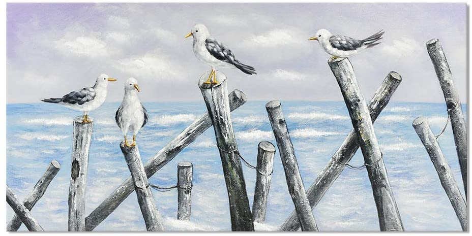Seagull on Piling Gallery Wrapped Canvas Wall Art Seascape Panting Coastal Decor Framed Seabird Artwork for Bathroon Office Kitchen Ready to Hang 40x20 inch