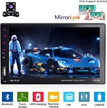 Camecho Double Din Car Stereo 7 inch Touch Screen Multimedia MP5 Player Sopport Android Phone Mirror Link with Bluetooth/FM/USB/SD/DVR/AUX Input + Backup Camera
