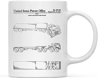 Andaz Press Planes, Trains, Automobiles Patent Print 11oz. Coffee Mug Birthday Christmas Gift, Truck and Trailer Patent Mug, 1-Pack, Semi Truck, Transportation Themed, 18 Wheeler